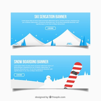 Banners de paisajes invernales con objeto deportivo