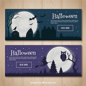 Banners de paisajes nocturnos de halloween