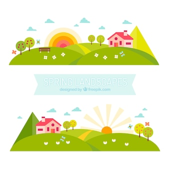 Banners de paisajes primaverales en diseño plano