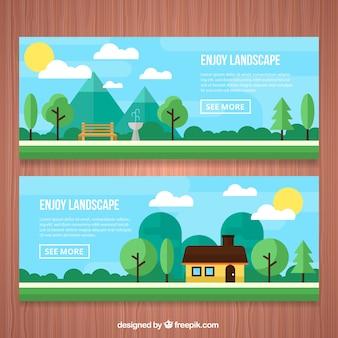 Banners de parque y casa en un paisaje en diseño plano