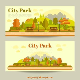 Banners de parques en la ciudad