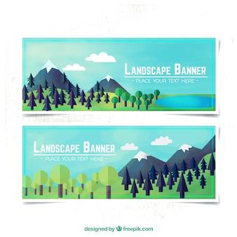Banners de pasaje con montañas y árboles en diseño plano