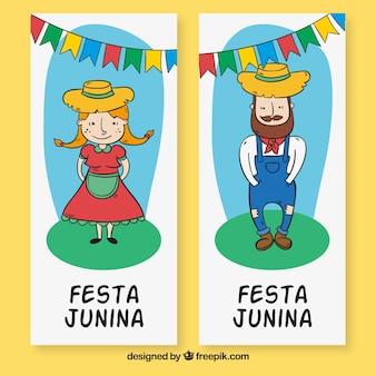 Banners de personajes de festa junina