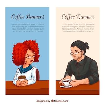 Banners de personas tomando café dibujadas a mano