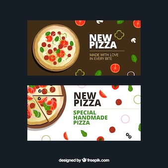 Banners de pizza con ingredientes