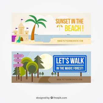 Banners de playa y bosque