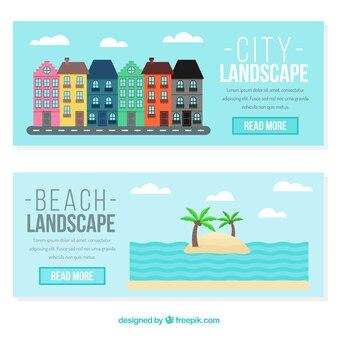 Banners de playa y fachadas de casas en diseño plano