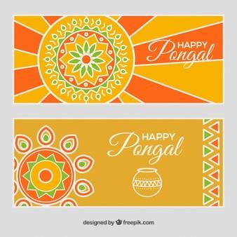 Banners de Pongal en tonos naranja y amarillo