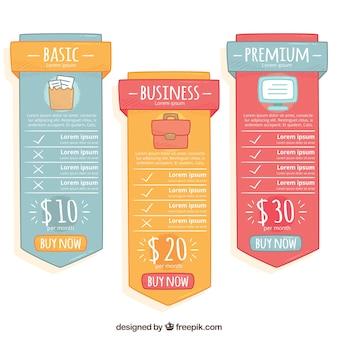 Banners de precios con diferentes planes
