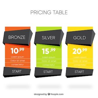 Banners de precios poligonales de colores
