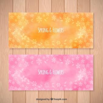 Banners de primavera y flores