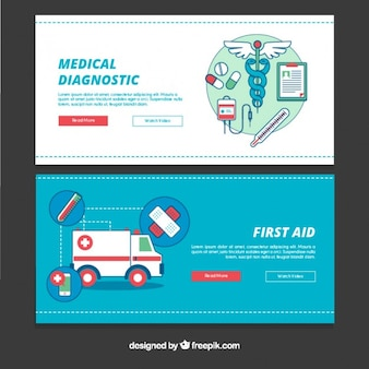 Banners de primeros auxilios en diseño plano