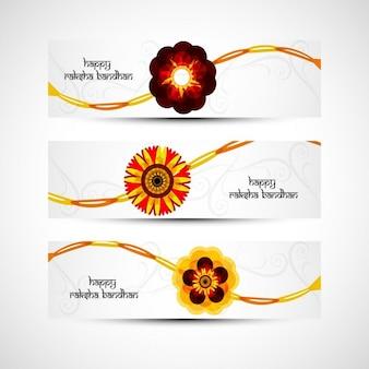 Banners de raksha bandhan con flores