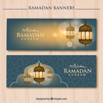Banners de ramadan con bonitos faroles