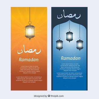Banners de ramadan con faroles iluminados