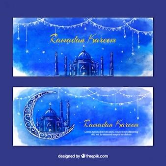 Banners de ramadan de acuarela azul