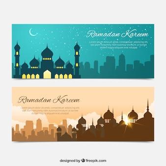 Banners de ramadan de bonitos paisajes