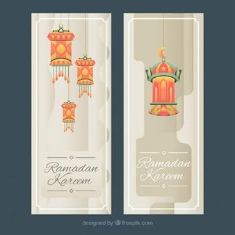 Banners de ramadan de faroles ornamentales