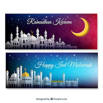 Banners de ramadan kareem con mezquita