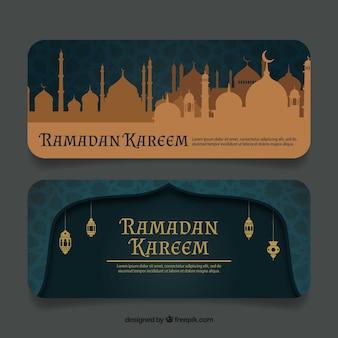 Banners de ramadan kareem en estilo vintage