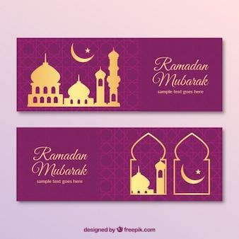 Banners de ramadan morado con detalles dorados