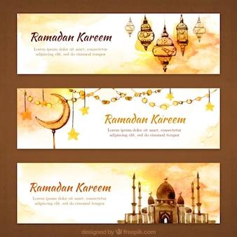 Banners de ramadan ornamentales de acuarela