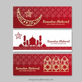 Banners de ramadan rojos y blancos con detalles dorados