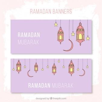 Banners de ramadán violetas