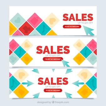 Banners de rebajas de cuadrados de colores