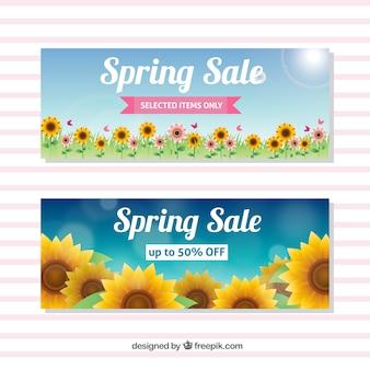 Banners de rebajas de primavera con girasoles