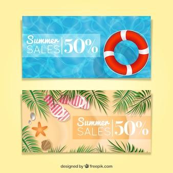 Banners de rebajas de verano realistas