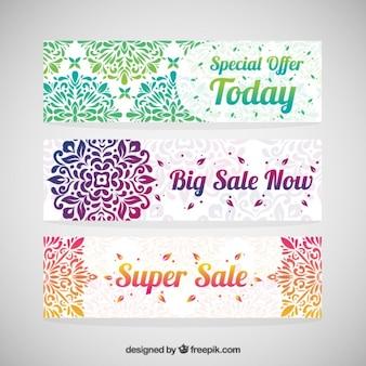 Banners de rebajas decorativos coloridos