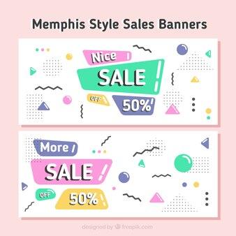 Banners de rebajas en diseño memphis