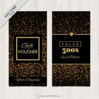 Banners de regalo de confeti dorado