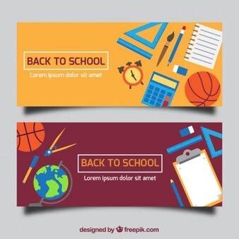 Banners de regreso al colegio con objetos para asignaturas
