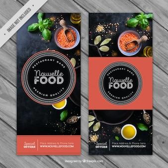 Banners de restaurante con detalles de color