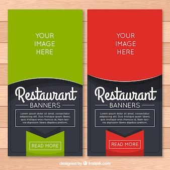 Banners de restaurante con etiqueta