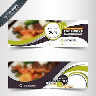 Banners de restaurante en diseño abstracto