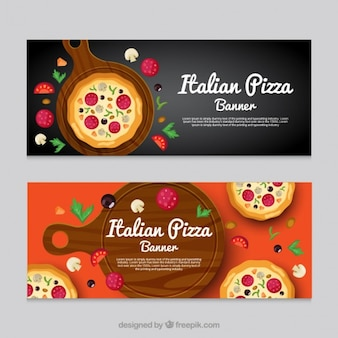 Banners de restaurante italiano con deliciosa pizza