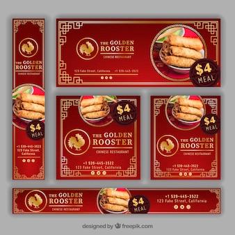 Banners de restaurante oriental