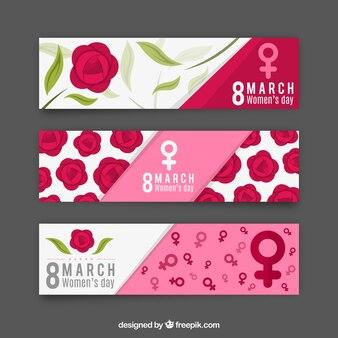 Banners de rosas del día de la mujer