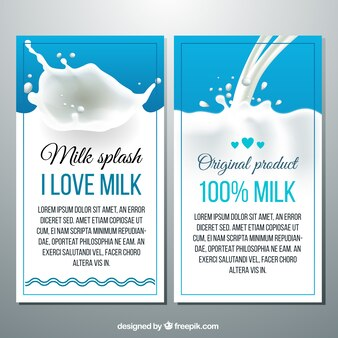 Banners de salpicaduras de leche en estilo realista