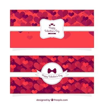 Banners de san valentín con corazones y etiqueta decorativa blanca