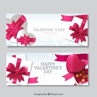 Banners de San Valentín con regalos rosas