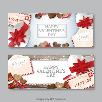 Banners de San Valentín con regalos y dulces
