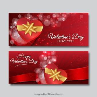 Banners de San Valentín con regalos