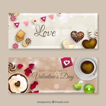 Banners de San Valentín dulce