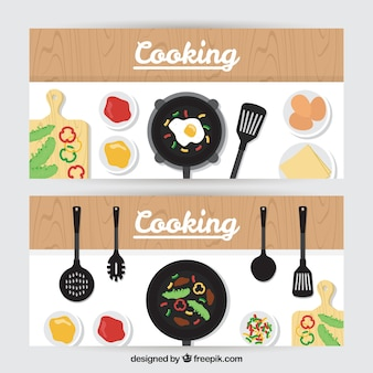 Banners de sartén con deliciosa comida