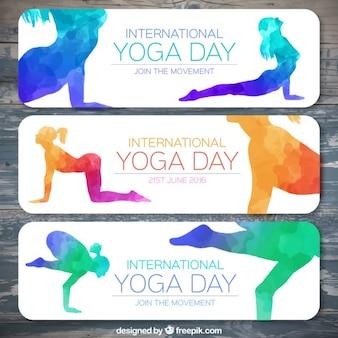 Banners de siluetas coloridas de yoga de acuarela