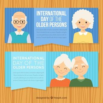 Banners de simpáticas personas mayores